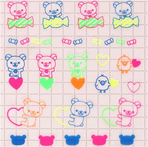 Neon Colourful Rilakkuma Stickers by San-X